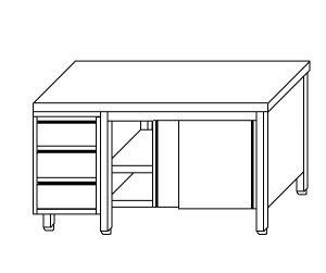 TA4029 Tavolo armadio in acciaio inox con porte su un lato e cassettiera SX 180x60x85