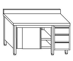 TA4057 Tavolo armadio in acciaio inox con porte su un lato, alzatina e cassettiera DX 220x60x85