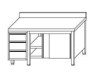 TA4065 Tavolo armadio in acciaio inox con porte su un lato, alzatina e cassettiera SX 190x60x85