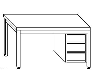 TL5032 Tavolo da lavoro in acciaio inox AISI 304 cassettiera dx 200x60x85
