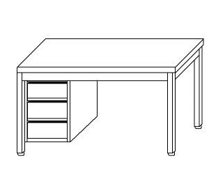 TL5048 Tavolo da lavoro in acciaio inox AISI 304 cassettiera sx 200x60x85