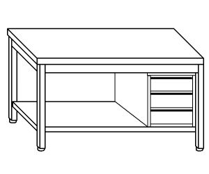 TL5070 Tavolo da lavoro in acciaio inox AISI 304 cassettiera dx ripiano 100x60x85