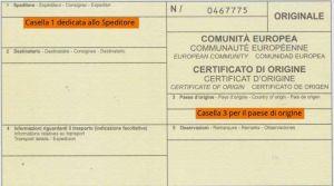 Certificat d'Origine