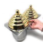 VGCV-2MINI-G Kit 2 mini carapine con coperchi piramidali SIMIL-DORATI da inserire in vetrina gelato