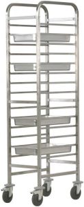 CA1489R Stainless steel reinforced tray rack trolley 14 GN1/1