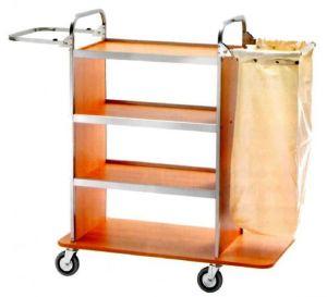 CA1515 Chariot porte-linge nettoyage avec porte-sac pliable etagere dessous