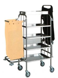 TCA 1525 Stainless steel trolley for laundry cleaning 4 shelves