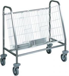 CA656 Chariot pour distribution et rangement plateux 1 panier Capacité 100 assiettes