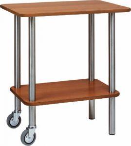 CA901 2R Carrello gueridon legno tinta noce 2 ruote 2 piedi fissi 70x50x78h
