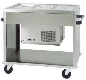 CAR2779 Chariot réfrigéré acier inox (+2°+10°C) 3 GN1/1 124x72x94h
