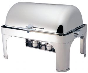 CD6502 Chafing Dish Chauffe-plat rectangulaire acier inox brillant Roll top 180°