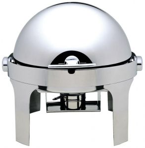 CD6504 Chafing dish Redondo con tapa acero inoxidable Roll top 180°