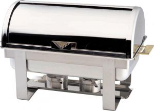 CD9801 Chafing Dish Chauffe-plat rectangulaire acier inox brillant Roll top