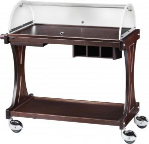 CL 2255W Wooden service trolley 2 shelves plx dome Wengé 86x55x110h