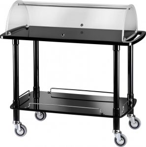 CLC 2012N Wooden trolley blak with plexiglass dome 2 shelves