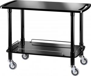 CLP 2002N Wooden trolley Black polish varnished 2 shelves 110x55x82h