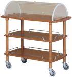 CLC2013 Carrello servizio in legno 3 piani cupola plx 110x55x114h