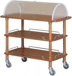 CLC 2013 Wooden trolley 3 shelves Plexiglas dome