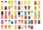 ITP384-FR Lot d'étiquettes pour enseignes de nourriture de style agréable au goût en français - 68 parfums + 5 neutres