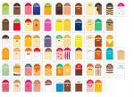 ITP384-ES Ensemble d'étiquettes pour étiquettes d'aliments de style agréable au goût en espagnol - 68 arômes + 5 neutres