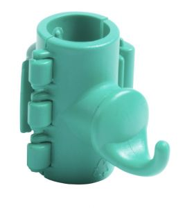 00003592 Gancio Singolo Con Attacco per Tubi - Verde