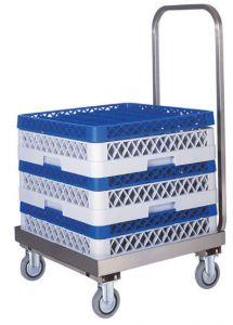 CP1445 Chariot porte-paniers pour lave-vaisselle en acier inoxidable avec poignée
