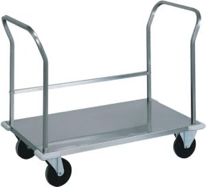 CPB1472  Stainless steel low platform trolley double handle