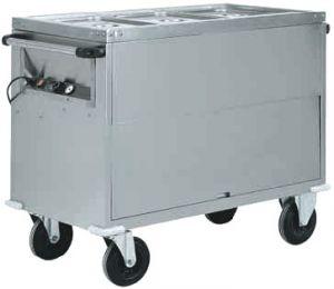 CT1766 Chariot bain-marie acier inox AISI 304 armoire 2x1/1GN  96x68x92h
