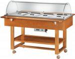 TELC 2832 Espositore carrellato legno caldo bagnomaria (+30°+90°C) 4x1/1GN cupola plx