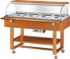 ELC2834 Expositor caliente bañomaria madera con cúpula ruedas (+30°+90°C) 4x1/1GN