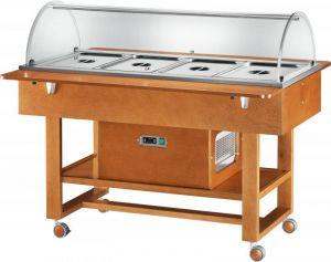 ELR2827 Espositore legno noce refrigerato carrellato (+2°+10°C) 4x1/1GN cupola plx