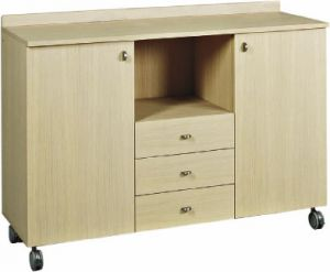 ML3204SS Service cabinet large oak 3 drawers 2 doors wheels
