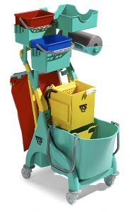 0P036559 Carrello Nick Plus 220 con secchio e divisorio, secchi, portaoggetti, portasacco e portarotolo