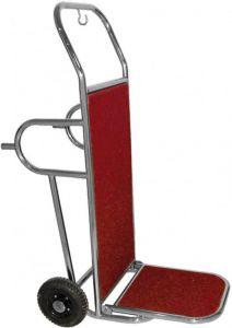 PV2002I  Chariot porte-bagages en acier inox 2 roues et pieds d'appui