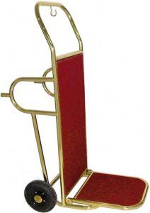 PV2002 Chariot porte-bagages acier cuivre 2 roues et pieds de support