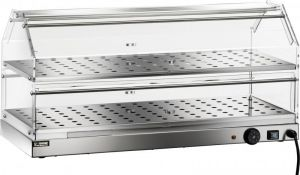 VBR4782 Vitrina caliente 2 pisos acero inox 85x35x40h