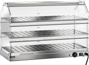 VBR4783 Vitrina caliente 3 pisos acero inox 85x35x54h