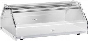 VL4748B Vitrine présentoir neutre pour brioches bois blanc Couvercle en plexiglas 50x35x21h