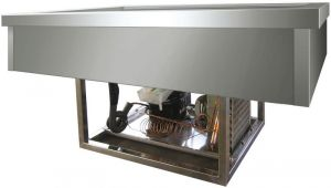 VRI411 Vasca acciaio inox refrigerata (+2º+8°C) da incasso 4x1/1GN 144x68x54,5h