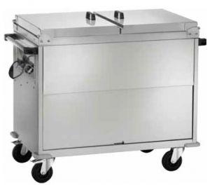 CT1770  Chariot bain-marie acier inox AISI 304 armoire couvercle 3x1/1GN 130x68x102h