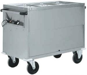 CT1771 Chariot bain-marie acier inox AISI 304 armoire 3x1/1GN 130x68x92h