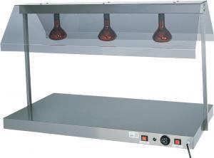 PCI4713 Plateau chauffé acier inox avec 3 lampes à infrarouges 127x68x80h