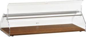 VL4749 Vitrine présentoir neutre pour brioches bois Couvercle en plexiglas 85x35x21h