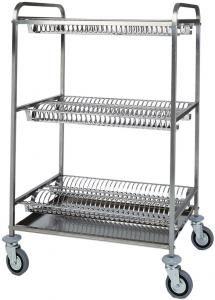 CA1400 S.steel dish glass drying rack trolley 2 shelves for dish 1 shelve glass draining
