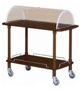 TCLC 2012W Carrito de servicio de madera Wengé cupula plexiglass 2 pisos