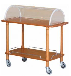 CLC 2012 Wodden service trolley 2 shelves with plexiglass dome