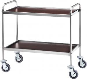 CA 1001W Stainless steel service trolley 2 wood veneer wenge shelves 103x57x97h