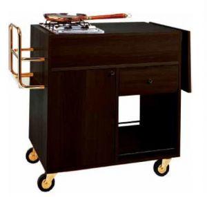 CF 1201W Chariot pour plats flambés Wengé 1 cusinière 2 brûleurs