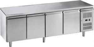 G-GN4100TN-FC Table réfrigérée ventilée en acier inoxydable AISI 201, quatre portes