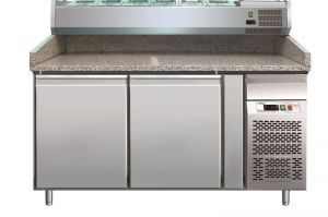 G- PZ2600TN - Refrigerated pizza counter with two doors in stainless steel